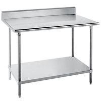 Advance Tabco KLG-365 36 inch x 60 inch 14 Gauge Work Table with Galvanized Undershelf and 5 inch Backsplash