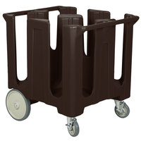 Cambro DC1225131 Dark Brown Poker Chip Dish Dolly / Caddy with Vinyl Cover - 4 Column
