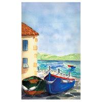 8 1/2 inch x 14 inch Menu Paper - Mediterranean Themed Venice Design Cover - 100/Pack