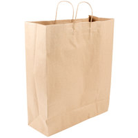 Duro Towner Natural Kraft Paper Shopping Bag with Handles 16 inch x 6 inch x 19 inch - 200/Bundle