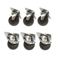 True 872070 4 inch Swivel Plate Casters - 6/Set