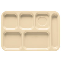 GET TR-152 10 inch x 14 1/2 inch Tan ABS Plastic Right Hand 6 Compartment Tray - 12/Pack