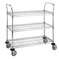 Metro MW712 Super Erecta 24 inch x 36 inch x 39 inch Three Shelf Standard Duty Stainless Steel Utility Cart