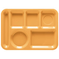 GET TL-152 10 inch x 14 inch Tropical Yellow ABS Plastic Left Hand 6 Compartment Tray - 12/Pack