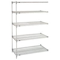 Metro 5AA477C Stationary Super Erecta Adjustable 2 Series Chrome Wire Shelving Add On Unit - 21 inch x 72 inch x 74 inch