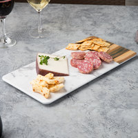 Elite Global Solutions M714RCM Sierra 14 1/4 inch x 7 inch Faux Hickory Wood and Carrara Marble Rectangular Serving Board
