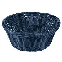 Tablecraft HM1175BL 8 1/4 inch x 3 1/4 inch Blue Round Rattan Basket - 6/Pack