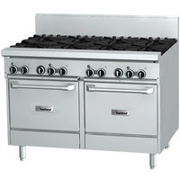 Garland GFE48-4G24LL Liquid Propane 4 Burner 48 inch Range with Flame Failure Protection and Electric Spark Ignition, 24 inch Griddle, and 2 Space Saver Ovens - 240V, 204,000 BTU