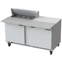 Beverage Air SPE60HC-08C 60 inch 2 Door Cutting Top Refrigerated Sandwich Prep Table with 17 inch Wide Cutting Board