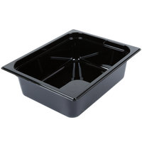 Carlisle 10421B03 StorPlus 1/2 Size Black High Heat Plastic Food Pan - 4 inch Deep