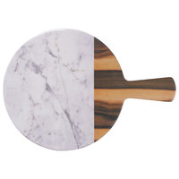 Elite Global Solutions M12RWM Sierra 12 inch Faux Hickory Wood and Carrara Marble Round Serving Board with Handle