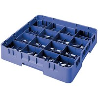 Cambro 16S1114168 Camrack 11 3/4 inch High Customizable Blue 16 Compartment Glass Rack