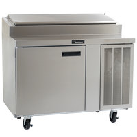 Delfield 18648PTLV 48 inch One Door Refrigerated Pizza Prep Table with LiquiTec Raised Rail