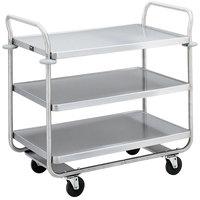 Vollrath 97168 Caravelle Chrome 3 Shelf Tubular Cart - 37 1/2 inch x 21 inch x 35 1/2 inch