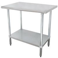 "Advance Tabco SLAG-302-X 30"" x 24"" 16 Gauge Stainless Steel Work Table with Stainless Steel Undershelf"