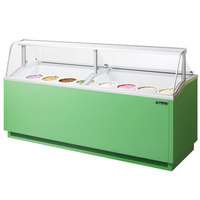Turbo Air TIDC-91G 91 inch Green Low Curved Glass Ice Cream Dipping Cabinet