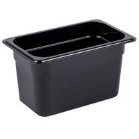 Carlisle 3068203 StorPlus 1/4 Size Black Polycarbonate Food Pan - 6 inch Deep