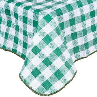 52 inch x 52 inch Green Checkered Gingham Vinyl Table Cover with Flannel Back