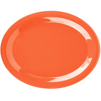 Carlisle 3308052 Sierrus 13 1/2 inch x 10 1/2 inch Sunset Orange Oval Melamine Platter - 12/Case
