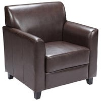 Flash Furniture BT-827-1-BN-GG Hercules Diplomat Brown Leather Chair with Wooden Feet