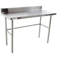 Regency 16 Gauge 24 inch x 48 inch Stainless Steel Commercial Open Base Work Table with Backsplash