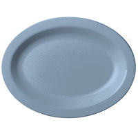 Cambro 120CWP401 Camwear 12 inch x 9 inch Slate Blue Polycarbonate Narrow Rim Platter - 24/Case