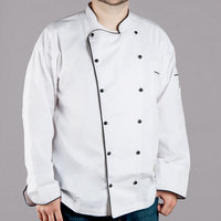 Chef Revival Gold J044-XL Men's Chef-Tex Breeze Size 48 (XL) Customizable Poly-Cotton Brigade Chef Jacket with Black Piping