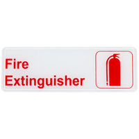9 inch x 3 inch Red and White Fire Extinguisher Sign