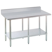 Advance Tabco KMSLAG-248-X 24 inch x 96 inch 16 Gauge Stainless Steel Work Table with Undershelf and Backsplash