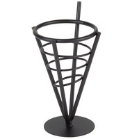 American Metalcraft MFC2 Black Wrought Iron Cone Basket - 3 3/4 inch x 7 1/4 inch