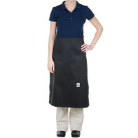 Chef Revival A009BK 30 inch L x 28 inch W Customizable 4-Sided Black Chef Bistro Apron