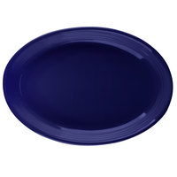 Tuxton CCH-0962 Concentrix 9 3/4 inch x 7 inch Cobalt Oval China Coupe Platter - 24/Case