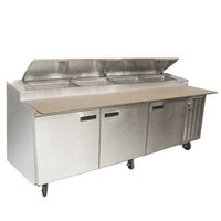 Delfield 18699PTLV 99 inch Three Door Refrigerated Pizza Prep Table with LiquiTec Raised Rail