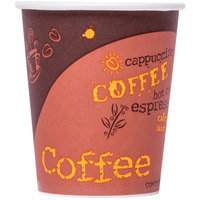 Choice 8 oz. Coffee Print Poly Paper Hot Cup - 50/Pack