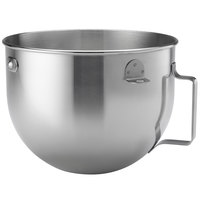 KitchenAid KN25WPBH Polished Stainless Steel 5 Qt. Mixing Bowl with Handle for Stand Mixers