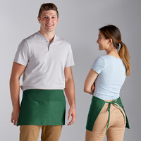 Choice Kelly Green Poly-Cotton Waist Apron with 3 Pockets - 12 inchL x 26 inchW