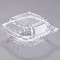 Dart C53PST1 5 3/8 inch x 5 1/4 inch x 2 5/8 inch ClearSeal Clear Hinged Lid Plastic Container - 500/Case