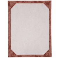 8 1/2 inch x 11 inch Burgundy Menu Paper - Angled Marble Border - 100/Pack