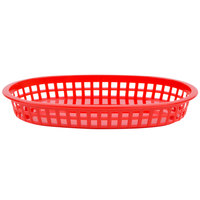10 3/4 inch x 7 inch x 1 1/2 inch Red Oval Plastic Fast Food Basket - 12/Pack