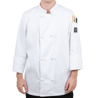 Chef Revival Bronze J050-XS Size 32 (XS) Customizable Double Breasted Chef Coat with Knot Cloth Buttons - Poly-Cotton Blend