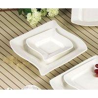 CAC SOH-120 Soho 24 oz. Ivory (American White) Square Stoneware Pasta Bowl - 12/Case