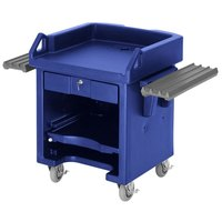 Cambro VCSWRHD186 Navy Blue Versa Cart with Dual Tray Rails and Heavy Duty Casters