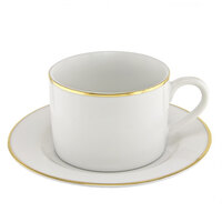 10 Strawberry Street GL0009 6 oz. Gold Line Can Cup with Saucer - 24 / Case