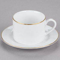 10 Strawberry Street GL0009 6 oz. Gold Line Can Cup with Saucer   - 24/Case