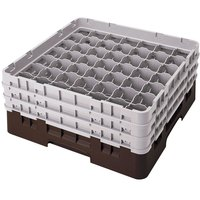 Cambro 49S1114167 Brown Camrack Customizable 49 Compartment 11 3/4 inch Glass Rack