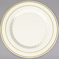Fineline Silver Splendor 507-BO 7 inch Bone / Ivory Customizable Plastic Plate with Gold Bands - 150/Case