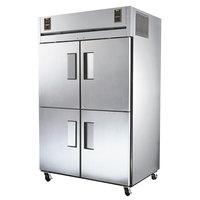 True STG2DT-4HS Specification Series Solid Door Dual Temperature Reach In Combination Refrigerator / Freezer with Half Doors