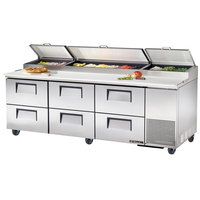 True TPP-93D-6 93 inch Six Drawer Refrigerated Pizza Prep Table