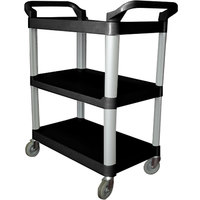 33 1/4 inch x 17 inch x 37 1/2 inch Black Three Shelf Utility Cart / Bus Cart