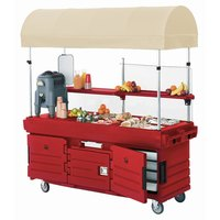 Cambro KVC856C158 CamKiosk Hot Red Customizable Vending Cart with 6 Pan Wells and Canopy